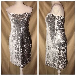 LILY ROSE LARGE WHITE SEQUINS STRAPLESS DRESS